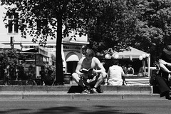 Reading (ISO_500) Tags: street people blackandwhite berlin streetphotography