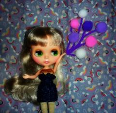 Pom Pom Balloons (23/31--Balloons) (Bebopgirl1969) Tags: balloons blythe rainbows pompoms kissmetrue