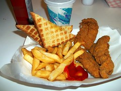 Chicken Fingers, French Fries And Toast. (dccradio) Tags: food ny newyork restaurant ketchup toast fastfood frenchfries upstateny eat meal catsup dairyqueen chickenfingers massena cooltreats northernny hoteats