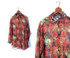 1980s sheer floral print oversize blouse, by Forenza (Small Earth Vintage) Tags: flowers roses vintage clothing women blouse 80s 1980s floralprint sheer oversize forenza bigshirt smallearthvintage