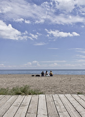 IMG_7209 (Brian K YYZ) Tags: blue sky people toronto water clouds sand sitting beaches boardwalk