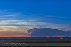 Noctilucent Clouds and Thunderstorm (June 26, 2013) (Astronomy Calgary) Tags: clouds twilight nightscape thunderstorm atmosphericphenomena mesosphericclouds noctilucentcloudsnlcs