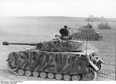 German Panzer IV with strengthened armor and long barrel 75 mm cannon. North-France ,1943.