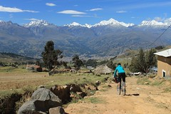 Descending through Negra villages (Pikes On Bikes) Tags: peru blanca biking negra cordillera huaraz ancash mtbing huantsan pikesonbikes