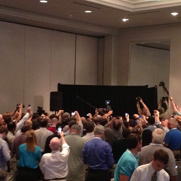 Somewhere in there in Johnny Manziel at SEC Media Days