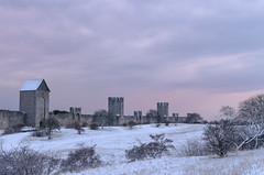 Morning snow (Jesper Alvermark) Tags: morning sky snow tower wall landscape nikon dusk medieval gotland defence visby ringmuren ringwall d7000