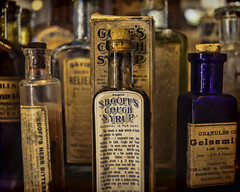 Vintage Remedies (joegeraci364) Tags: old color art glass altered vintage print photo store bottle image display antique label business pharmacy ill drug medicine sell sick promise cure tincture snakeoil