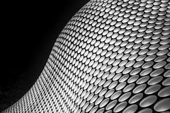 Spheres (LJP40) Tags: city sky urban abstract building monochrome architecture modern buildings shopping mono birmingham nikon cityscape lookingup selfridges shops orbs spheres bullring lightroom selfridgesbuilding d700