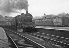 45660 at Skipton station.  Feb. 1966 (Brit 70013 fan) Tags: 45660 jubilee rooke skipton yorkshire steam engine coal freight train 1966 dmu dieselmultipleunit