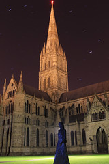 Cathedral (phill_fisher) Tags: longexposure blue lightpainting green statue lady stars cathedral spire salisbury nophotoshop salisburycathedral singleexposure sooc