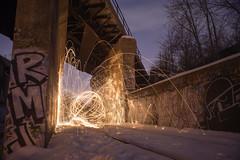 Orb (IAmTheSoundman) Tags: longexposure nightphotography ohio snow night graffiti jake takumar cleveland tracks orb sparks steelwool a99 trainavenue barshick jakebarshick