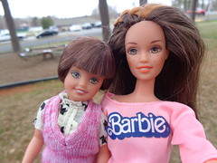 Mother and Daughter Selfie (poplinholly) Tags: park brown playground mom eyes woods stacie doll child mommy daughter mother ken barbie skipper teen parent hazel whitney brunette selfie richpark