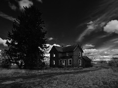 long past gone.... (BillsExplorations) Tags: old sky blackandwhite tree abandoned monochrome clouds farmhouse rural ruins decay farm gone forgotten abandonedhouse ruraldecay abandonedillinois oncewashome