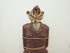caputured tiger officer (czechouttheczech) Tags: show cats white green art animal statue shirt cat justice war body background teeth tiger captured tie rope suit statement times tied pow society roar injustice officer prisoner captivity djur opression oppressed krig kostym wartimes fnge fngad fngeskap