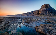Nash Point (Mark O'Grady // Photography) Tags: sunset sea sky cliff mountains reflection beach water pool rock stone wales point landscape coast sand rocks south rocky cliffs vale glamorgan oily welsh nash jurassic waterpool nashpoint marcross valeorglamogan
