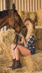 Cowgirl in love with horse (TJ Photographic) Tags: horse love hat barn boots hay cowgirl
