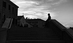 Atop the Bridge (Just Ard) Tags: street bridge venice people blackandwhite bw italy woman white black blancoynegro monochrome silhouette person photography mono nikon noiretblanc zwartwit candid d750 unposed  biancoenero schwarzundweis justard