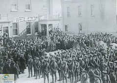 B Company, 91st Battalion, C.E.F. at Rodney Town Hall, February 18, 1916 (Elgin County Archives) Tags: elgincountyarchives stthomasontario 91stbattalion canadianexpeditionaryforce firstworldwar worldwari rodneyontario