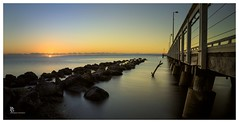 Sunrise at the jetty (pbaddz) Tags: longexposure water sunrise jetty australia le queensland wellingtonpoint