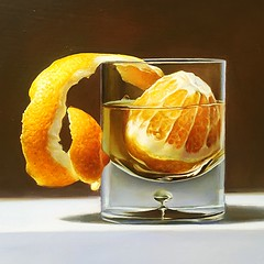 An Orange in a Glass of ? (buddhadog) Tags: orange beer wine whiskey tequila sake alcohol vodka rum scotch gin cognac tanqueray gingerale