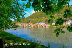 Heidelberg-0202 (glennrossimages) Tags: bridge blue germany de boat heidelberg alte brucke badenwrttemberg