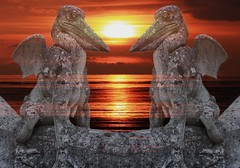 Chimres-sunset (icare6060) Tags: sunset sea statue chimera