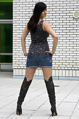 Chrissi 09 (The Booted Cat) Tags: sexy girl model legs boots jeans heels miniskirt overknee demin higheels
