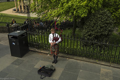 Street Musician (montrealmaggie) Tags: musician green fence bagpipes tartan hff