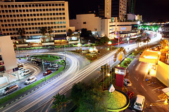 Downtown (kieronjameslong) Tags: street city longexposure light night evening asia downtown traffic sarawak malaysia borneo intersection lighttrails fareast citycentre kuching mutlipleexposure