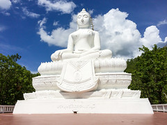 Big image of Buddha (Evgeny Ermakov) Tags: travel blue trees vacation sky cloud white tree green tourism beautiful beauty statue clouds asian thailand religious daylight ancient asia southeastasia heaven view image outdoor buddha buddhist traditional religion picture culture sunny buddhism landmark scene holy exotic figure destination restoration daytime southeast typical renovation th renewal touristic buddhistic changwatmaehongson tambonmaehi