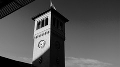 Tower of Malm (brandsvig) Tags: shadow bw tower clock station skne sweden july railway torn malm skugga centralen 2015 centralstationen jrnvg centralplan samsungs4