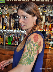 June 18 2016 - Bartender at the Lander Bar sporting beautiful ink (lazy_photog) Tags: hospital photography motorcycles bikes run canyon foundation poker lazy babes badlands wyoming sinks elliott bikers washakie photog lander riverton thermopolis worland shoshoni boysen 061816keithpokerrun