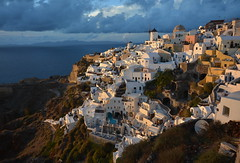 Sunset, Santorini, Greece (ott.geoffrey) Tags: light sunset shadow cliff windmill yellow santorini greece