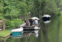 Pontoon in the Backyard (mikecogh) Tags: berlin canal couple company conversation potsdam pontoon wannsee