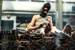 293/365 Confrontation/Unease (ewitsoe) Tags: boy art gun artist mask poland polska installation 365 bullets poznan confront dutchartist maltafestival driesverhoeven ewitsoe