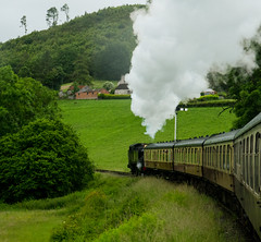 Llangollen To Corwen Steam Train (cocabeenslinky) Tags: world uk trees mountains green art heritage nature beauty june wales lumix photography countryside town site tank natural photos 10 united small large kingdom unesco panasonic railcar valley area locomotive miles welsh prairie dee upstream berwyn cymraeg llangollen outstanding gwr aonb 2016 denbighshire 5199 dmcg6 cocabeenslinky