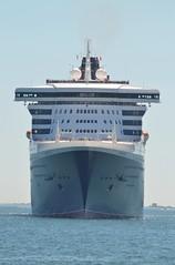 Queen Mary 2 (jelpics) Tags: cunardline cunardcruiselines oceanliner queenmary2 cruiseships cruise cruiseportboston blackfalconterminal boat boston bostonharbor bostonma harbor massachusetts ocean port sea ship vessel