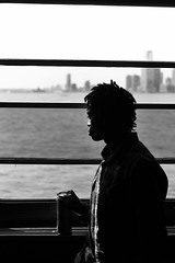 Dreams of Leaving (www.daevans.co.uk - Street Photography Workshops i) Tags: leica nyc man window water ferry river island manhattan monochrom staten daydreaming dreamsofleaving