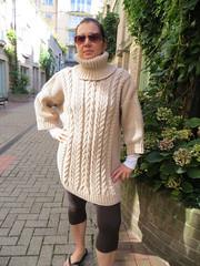 Womens heavy cabled wool turtleneck (Mytwist) Tags: wool lady female fetish long cream handknit merino pregnant turtleneck milf aran chunky smock clarsalli