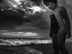 Hearing Home (erikjnainggolan) Tags: iphone iphoneography sunset child girl beauty angel bali indonesia cancer chemo survive kuta black white bw n monochrome neva beach seascape