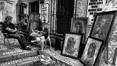 the painter at work (j.p.yef) Tags: pictures street bw woman dog monochrome stairs spain women digitalart streetlife painter sw torremolinos yef peterfey bestcapturesaoi elitegalleryaoi jpyef