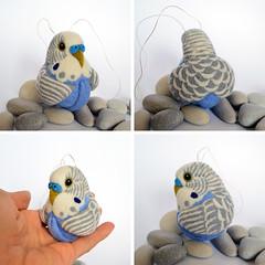Blue Budgerigar, needle felted wool ornament (woolroommate) Tags: wool needlefelted needlefelting needlecraft natureinspired parrot ball bird ornament decor mobile arttoy craft softsculpture collectable collectorsitem budgie budgerigar blue