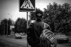 hard boy (pyrin.oleksandr) Tags: street boy summer bw white black leather dark hard backpack indie