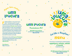 Uma Loucura Menus (outside) (Cahoots Design) Tags: ocean summer brazil food water illustration print ma fun happy cuisine aquarium salad dish natural market provincetown capecod massachusetts traditional uma culture deck chef snack pastry flavio brazilian dishes olympics tradition pastries brand salada savory salgadinhos doces branding materials banding bebidas entree cahoots loucura tagline menudesign umaloucura cahootsdesign