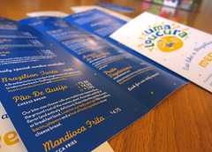 Uma Loucura Menus (Cahoots Design) Tags: ocean summer brazil food water illustration print ma fun happy cuisine aquarium salad dish natural market provincetown capecod massachusetts traditional uma culture deck chef snack pastry flavio brazilian dishes olympics tradition pastries brand salada savory salgadinhos doces branding materials banding bebidas entree cahoots loucura tagline umaloucura cahootsdesign