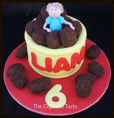COOKIE JAR! (The Cupcake Tarts (previously Tutta Bella)) Tags: boy red yellow strand southafrica name twin celebration blondehair 6thbirthday westerncape fondant somersetwest thecupcaketarts cookiejarcake crunchychoccookies