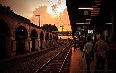 A dramatic evening scene at the station (Pradeepa Pandiyan) Tags: travel light sunset sunlight india sunshine station train evening bangalore railwaystation southindia