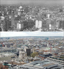 View From St Pauls Cathedral`1959-2013 (roll the dice) Tags: city uk london art history classic cars architecture justice site construction ruins sad view towers cranes collection flats holborn dome ww2 vista wren local blitz demolished farringdon ec1 oldandnew newgate paternoster pastandpresent londonist squaremile bygone hereandnow goldengallery