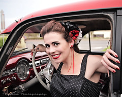Retro style (Vorona Photography) Tags: auto justin usa flower classic girl car female america cat vintage photo washington memorial automobile pretty dress image fife united cancer picture kitty style scene event photograph rockabilly vehicle louie states dame gs pinups polkadot greaser agains camwinders voronaphotography sammiemarie