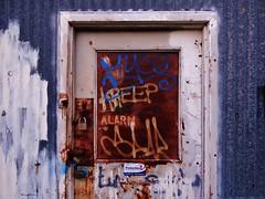 KREEP ALARM (rickele) Tags: abandoned graffiti rust steel tag sacramento spar outofbusiness corrugatedmetal kaspar stocktonboulevard myco kreep jonsfurniture